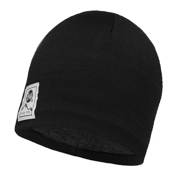 buff knitted e polar hat solid black